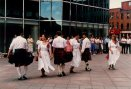 Dancing in a strong wind at Scotia Plaza in downtown St. John's, June 1988
